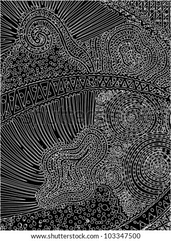 A vector illustration of an abstract ornamental drawing.