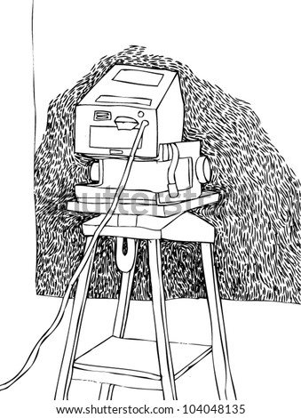A vector illustration of an abstract projector drawing.