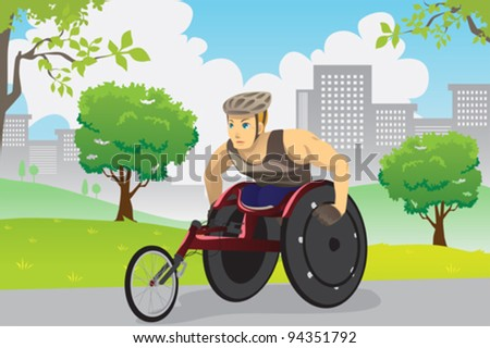 A vector illustration of an athlete in wheelchair training outdoor