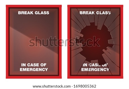 A vector illustration of an empty red emergency box with an in case of emergency breakable glass on the front - fixed and broken ストックフォト ©