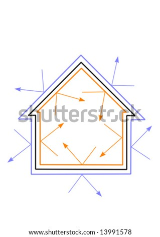 A vector illustration of an energy efficient house with warmth being reflected in and cold kept out