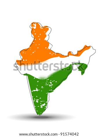 A vector illustration of An India map covered with Indian flag with copy space  for Republic and Independence Day.
