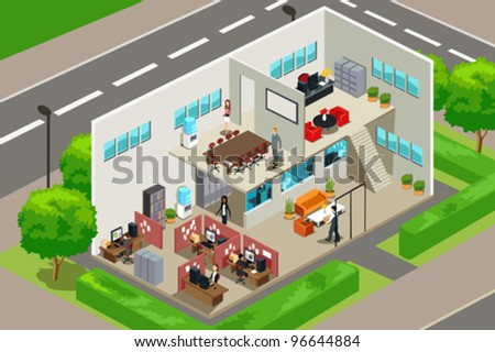 A vector illustration of an inside look of a business office