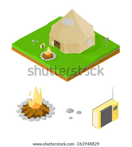 A vector illustration of an isometric camping site with fire and radio.Isometric camping site.Camping tent on grass land with fire