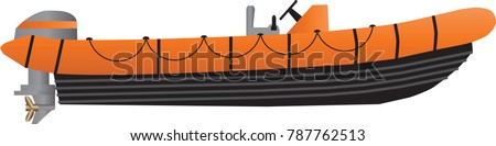 A Vector Illustration of an Orange and Black High Speed inflatable inshore rescue boat isolated on white
