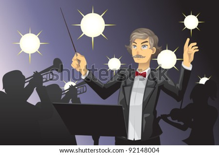 A vector illustration of an orchestra conductor