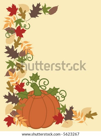 A vector illustration of Autumn leaves and a pumpkin.