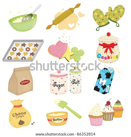 A vector illustration of baking and kitchen utensils icons