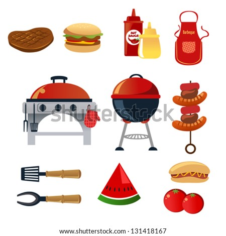 A vector illustration of barbeque icon sets