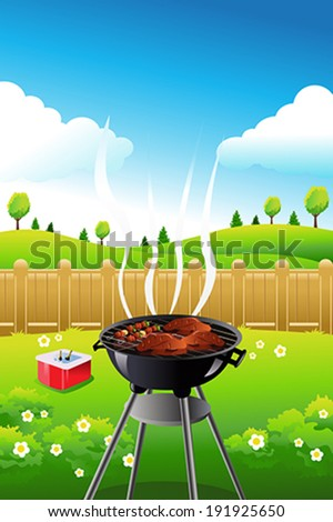 A vector illustration of barbeque party poster design