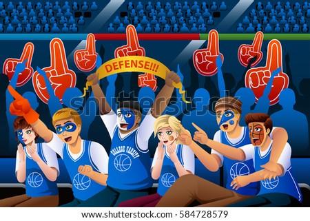 A vector illustration of Basketball Fans Cheering Inside Stadium