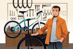 A vector illustration of bicycle store owner in his bike repair shop