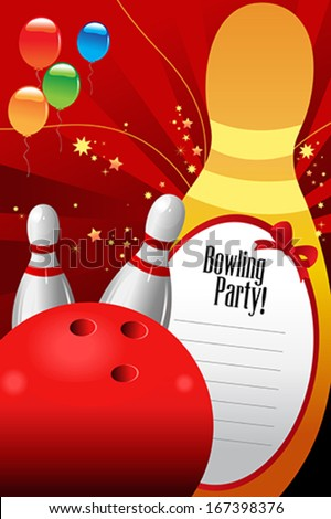 A vector illustration of bowling party invitation template