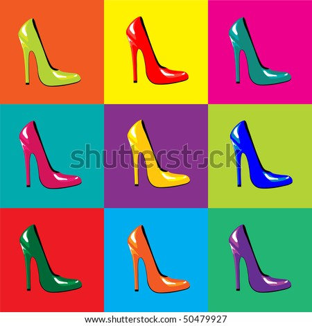 A vector illustration of bright, high-heel shoes on colourful tiled background. Pop-art style. Seamless