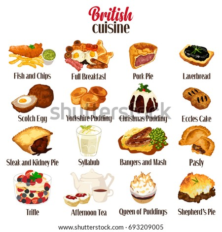 A vector illustration of British Food Cuisine Stock photo ©