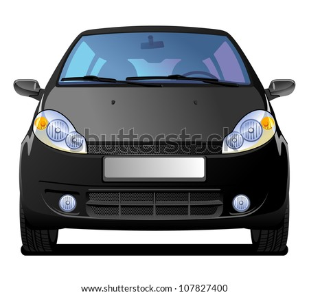 A Vector  illustration of car. front view. Simple gradients only - no gradient mesh.