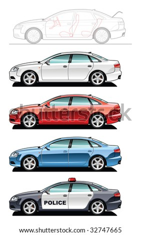 A Vector illustration of cars. (Simple gradients only - no gradient mesh.)