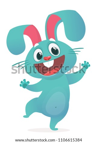 A vector illustration of cartoon  excited bunny rabbit hopping