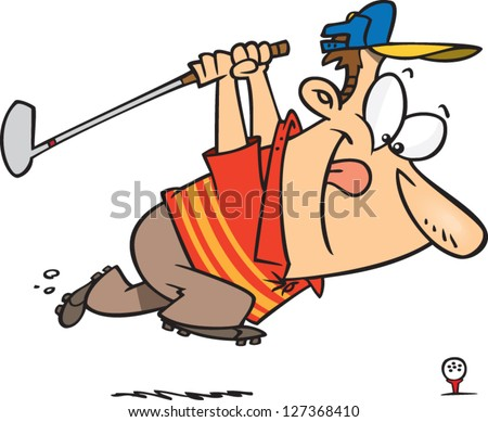 A vector illustration of cartoon man winding up for his golf swing