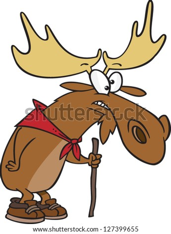 A vector illustration of cartoon moose with a hiking stick
