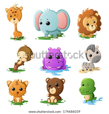 A vector illustration of cartoon wildlife animal icons