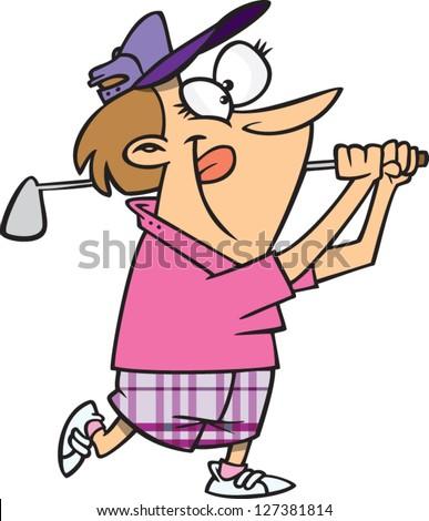 A vector illustration of cartoon woman golfing