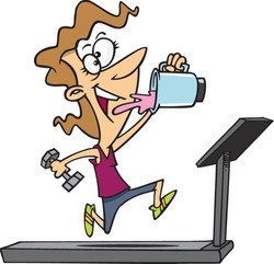 A vector illustration of cartoon woman running on a treadmill, drinking a protein drink and lifting weights