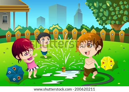 A vector illustration of children playing with sprinkler water in the summer