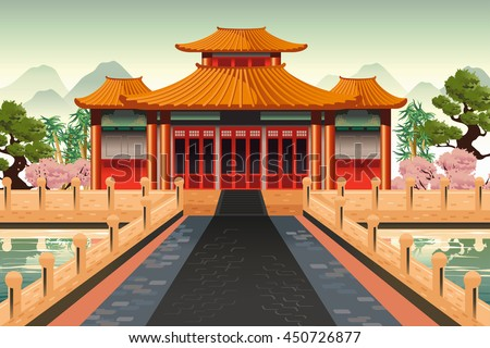 Chinese Temple Landscape Vector Background Download Free Vector - Temple landscape architecture