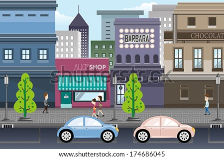 a vector illustration of city