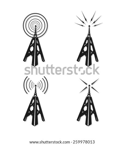 A vector illustration of communication radio towers. Radio communication towers. Vintage Radio communications and broadcast.