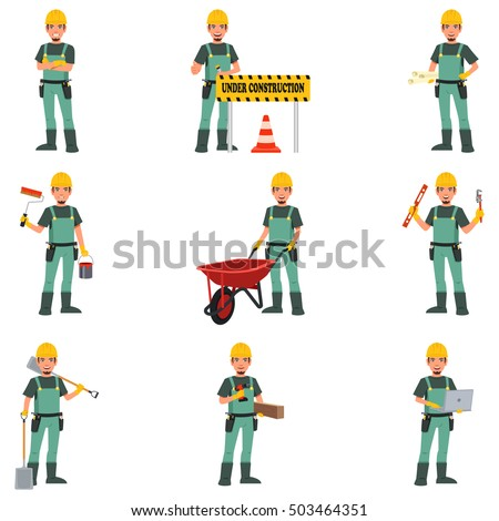 A vector illustration of Construction Worker Doing Work