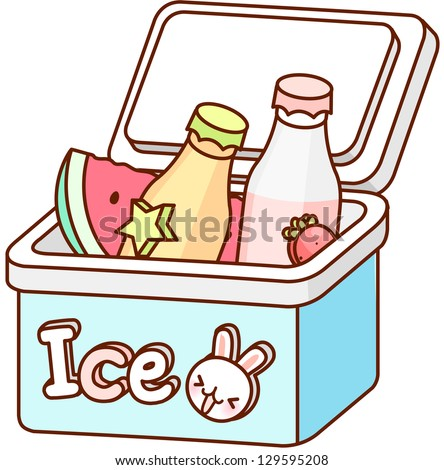 A vector illustration of cooler box with food and drink