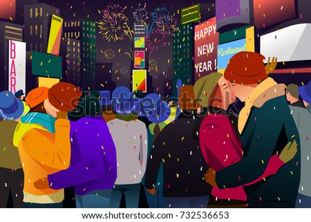 A vector illustration of Couples Kissing During New Year Celebration