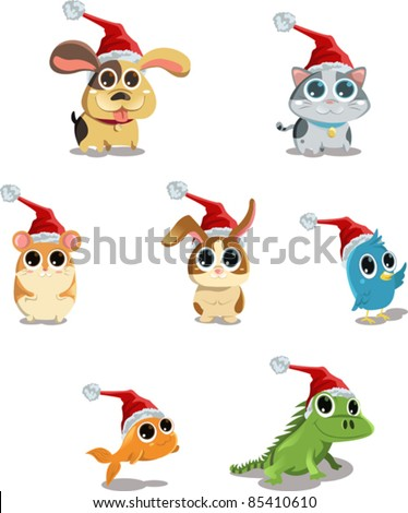 A vector illustration of cute animals wearing Santa hat