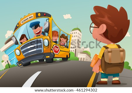 A vector illustration of cute kid waiting at a bus stop