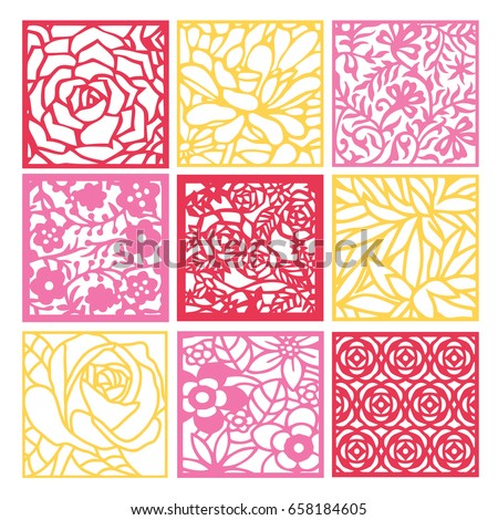 A vector illustration of 9 different floral fretwork lattice background set in paper cut silhouette style.