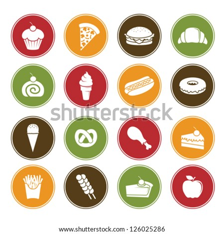 A vector illustration of different food icons