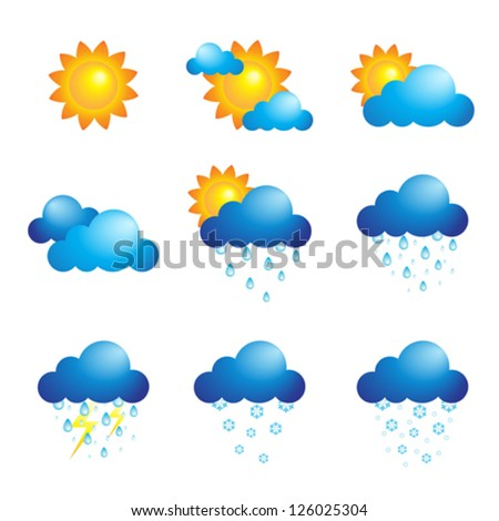 A vector illustration of different weather icons