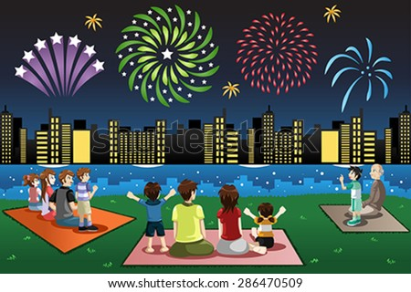 A vector illustration of families watching fireworks in a park