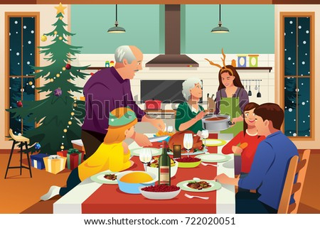 A vector illustration of Family Having Christmas Dinner Together