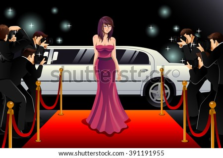 A vector illustration of fashionable woman going to a red carpet event