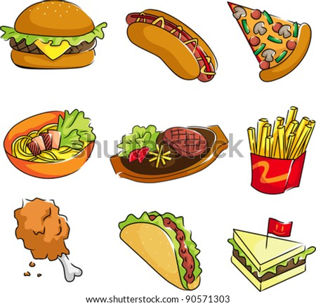 A vector illustration of fast food icons