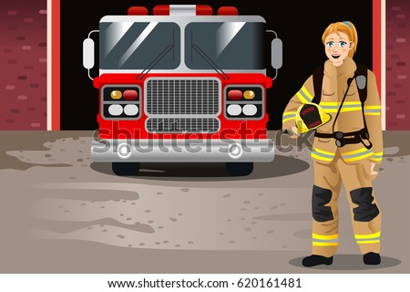 A vector illustration of Female Firefighter in Front of Fire Station