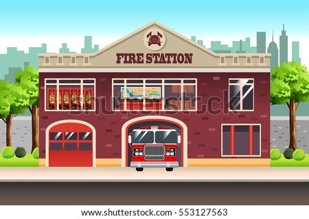 A vector illustration of Fire Station
