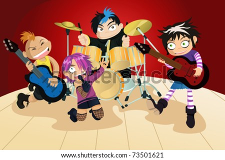A vector illustration of four kids in a rock band