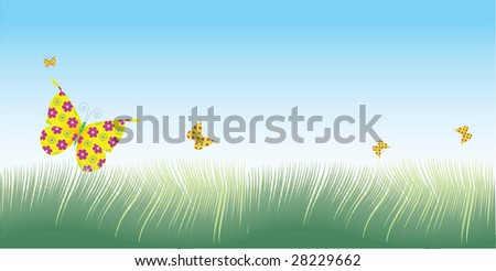 a vector illustration of green grass with butterflies flying overhead in a banner shaped layout that's great as a text placeholder.