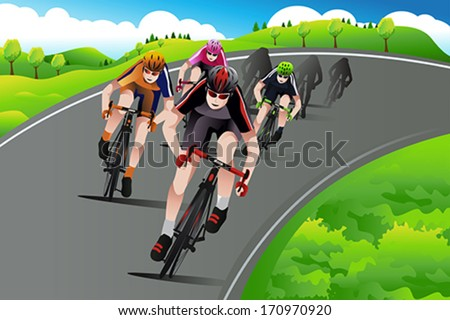 A vector illustration of group of cyclist racing on the street going up the mountain