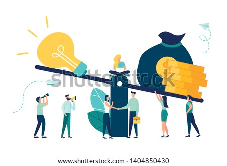 A vector illustration of groups of people who inject money into an idea on a swing and outweighs it, the concept of overweight, value, purchase