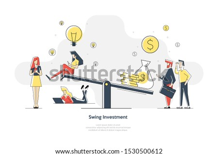 A vector illustration of groups of people who inject money into an idea on a swing and outweighs it, the concept of overweight, value, purchase Stock photo ©